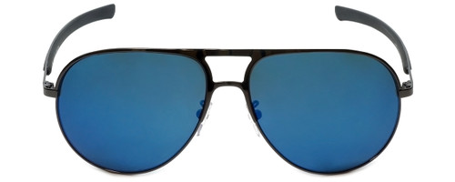 Police Designer Sunglasses Race 1 in Shiny Gunmetal with Blue Mirror Lens