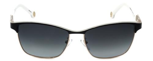 Carolina Herrera Designer Sunglasses SHE069-0NP1 in Black White Metalmm