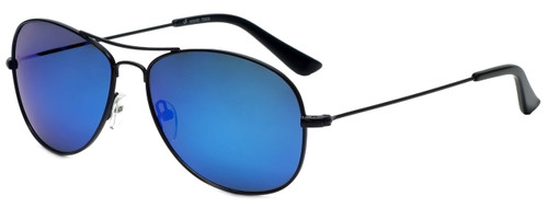 Vivid Polarized Aviator Sunglasses 790S in Black with Blue Mirror Lens