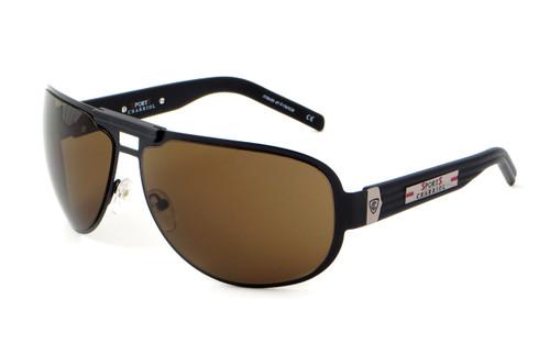 Sports Charriol Swiss Stainless Steel Designer Sunglasses in Black Frame & Brown Lens (24000-C4)