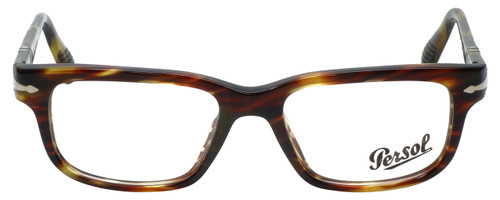 Persol Designer Reading Glasses Film Noir Edition PO3073V-938 in Green Striped Brown 52mm
