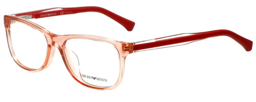 Emporio Armani Designer Eyeglasses EA3001F-5070-52 in Peach Transparent 52mm :: Custom Left & Right Lens