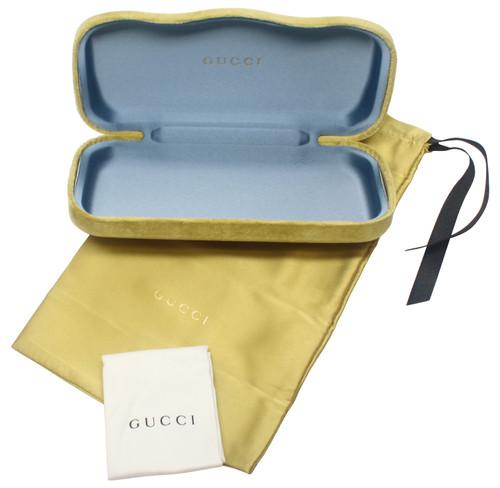 Gucci Authentic Designer Hard Velvet Clamshell Eyeglass/Sunglass Case in Yellow