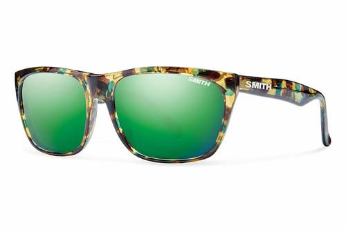 Smith Optics Tioga Sunglasses in Flecked Green Tortoise with Green Sol-X Lens