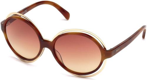 Emilio Pucci Designer Sunglasses EP0055-53Z in Blonde Havana with Amber Gradient Lens