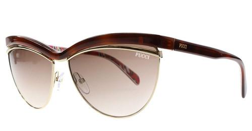 Emilio Pucci Designer Sunglasses EP0010-52F in Havana with Amber Gradient Lens