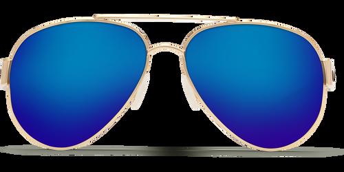 Costa Del Mar Polarized South Point Aviator Sunglasses Gold Frame Blue Mirror 580G Lens