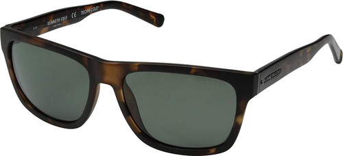 Kenneth Cole Polarized Sunglasses KC7215-52R in Matte Tortoise with Green Lens