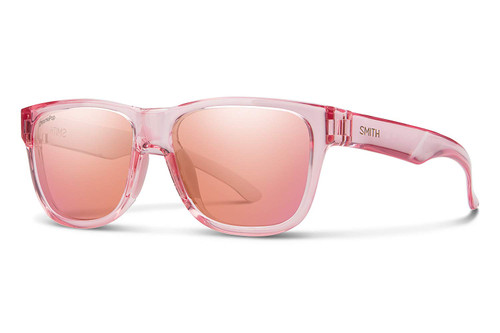 Smith Optics Lowdown Slim Sunglasses in Pink Crystal with Rose Flash Lens