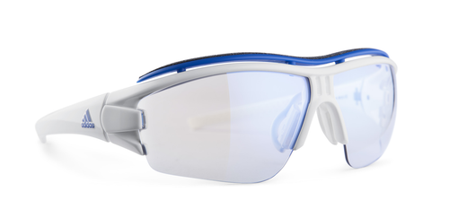 Adidas Designer Sunglasses Evil Eye Halfrim Pro in White with Vario Blue Lens