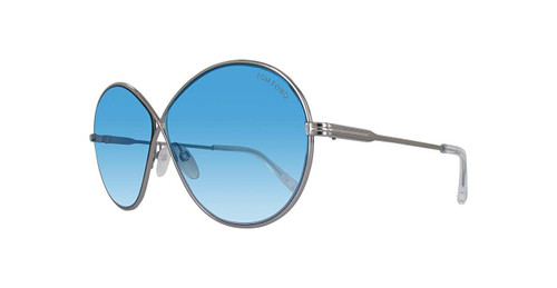 Tom Ford Designer Sunglasses Rania TF564-14X in Silver with Blue Gradient Lens