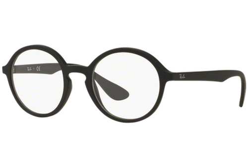 Ray Ban Designer Eyeglasses RX7075-5364 Rubber Matte Black Oval Rx Single Vision