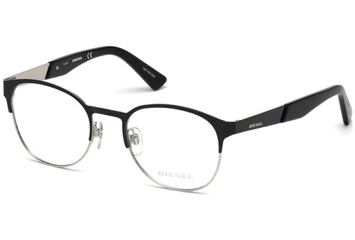 Diesel Designer Round Reading Glasses DL5236 001 in Black Silver :: Rx Bi-Focal