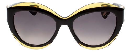 Lanvin Designer Sunglass Black/Crystal Olive Green Grey Gradient SLN677S-0760-54