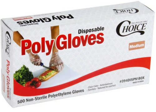 100 Count Box Choice Gloves Poly Food Prep Safe Powder&Latex Free Size (Medium)