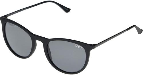 Quay Australia Great Escape Designer Sunglasses Matte Black/Polarized Smoke Lens 45mm