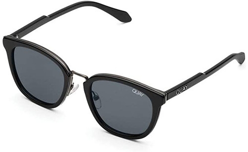 Quay Australia Run Around Designer Sunglasses Black/Smoke Lens 53mm