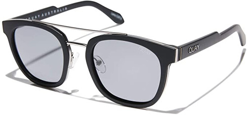 Quay Australia Coolin Designer Sunglasses Matte Black/Polarized Smoke 50mm