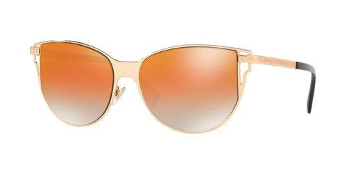 Versace Designer Sunglasses Rose Gold Frames/Grey-Orange Mirror Lens VE2211-1412I4-56mm