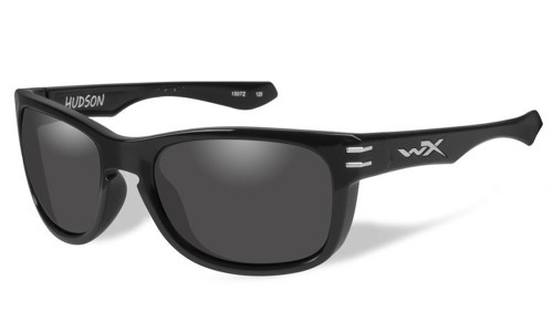 Wiley-X High Performance Eyewear Hudson Sunglasses in Gloss-Black with Grey Lens (ACHUD03)
