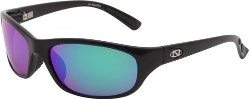 Ono's™™ Polarized Sunglasses: Carabelle in Black & Green Mirror