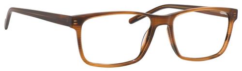 Esquire EQ1566 Mens Rectangle Frame Eyeglasses in Brown Amber 57 mm Custom Lens