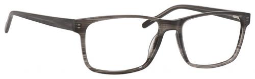 Esquire EQ1566 Mens Rectangle Frame Eyeglasses in Grey Amber 57 mm Custom Lens