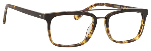 Ernest Hemingway H4825 Unisex Rectangular Frame Eyeglasses in Olive/Amber 54 mm Custom Lens