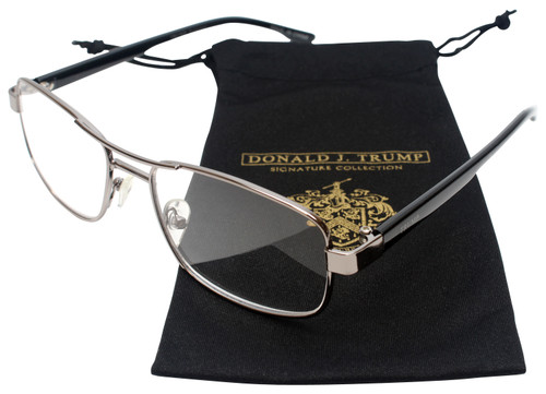 Donald Trump Designer Metal Reading Glasses DTR 04 in Gunmetal Silver Black 53mm