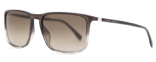 Hugo Boss Mens 0665/S TV7 Rectangular Sunglasses Brown Gradient Grey Amber 57 mm