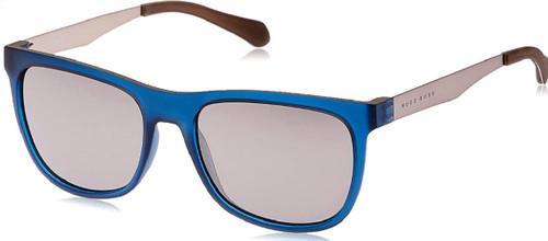 Hugo Boss Mens 0868/S Rectangular Sunglasses Matte Blue Beige Brown Silver 55 mm