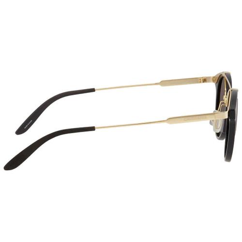 Carrera CA126S Designer Sunglasses Round Unisex Shiny Black Gold/Brown Gray 49mm