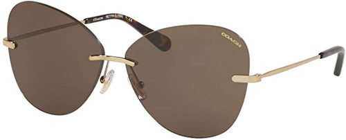 COACH Designer Sunglasses Gold/Non-polarized Brown Lens VV-EA-HC7104-9005/83-59mm
