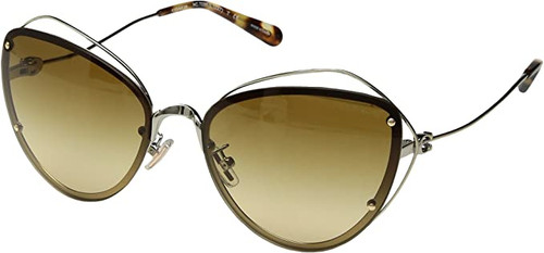 COACH Designer Sunglasses Light Gold Light Brown Lens RVP-EA-HC7086-9005/2L-60mm