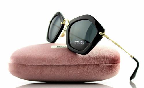Miu Miu Designer Womens Sunglasses in Black/Gold with Grey Lens 53mm