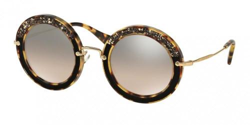Miu Miu Core Designer Womens Sunglasses in Havana/Gold with Brown Mirror