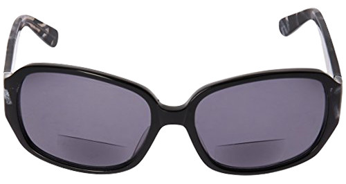 Vera Wang Designer Polarized Bi-Focal Sunglasses Flint Black/Brown Marble 57mm