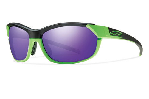 Smith Optics Overdrive Designer Sunglasses in Reactor Green with Purple-Sol-X/Ignitor/Clear Lens Set