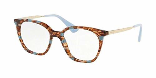 Prada Designer Blue Light Block Reading Glasses PR11TV-KJ0101 Striped Brown 53mm New
