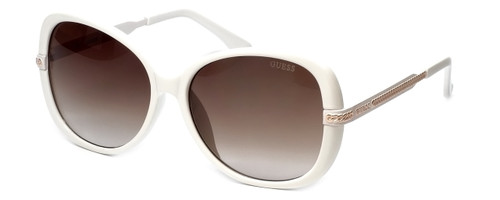 Guess  Designer Sunglasses GUF253 in White Frame with Amber Gradient Lens