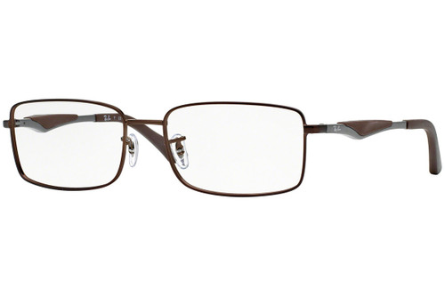 Ray Ban Progressive Lens Blue Light Glasses RX6284-2758-53 Dark Matte Brown 53mm