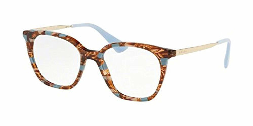 Prada Designer Progressive Blue Light Glasses PR11TV-KJ0101 Striped Brown 53mm