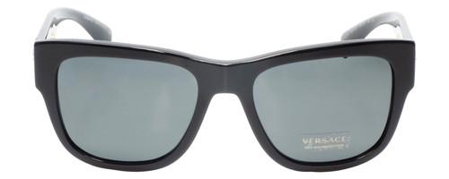 Front View of Versace VE4319 Unisex Retro Full Rim Sunglasses in Black Bronze Copper/Grey 56mm