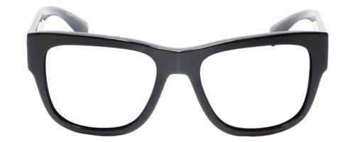 Front View of Versace VE4319 Designer Reading Eye Glasses with Prescription Progressive Rx Lenses in Black Bronze Copper Unisex Retro Full Rim Acetate 56 mm