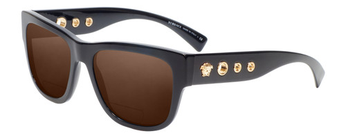 Profile View of Versace VE4319 Designer Polarized Reading Sunglasses with Custom Cut Powered Amber Brown Lenses in Black Bronze Copper Unisex Retro Full Rim Acetate 56 mm