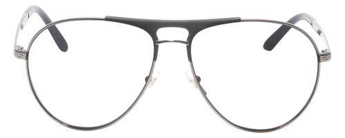 Front View of Versace VE2164 Designer Reading Eye Glasses with Prescription Bi-Focal Rx Lenses in Matte Black GunMetal Unisex Aviator Full Rim Metal 60 mm