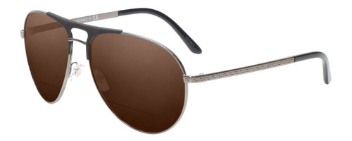 Profile View of Versace VE2164 Designer Polarized Reading Sunglasses with Custom Cut Powered Amber Brown Lenses in Matte Black GunMetal Unisex Aviator Full Rim Metal 60 mm