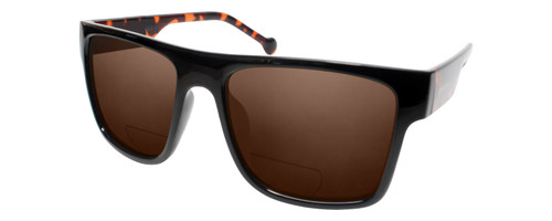 Profile View of Converse H082 Designer Polarized Reading Sunglasses with Custom Cut Powered Amber Brown Lenses in Black Tortoise Unisex Square Full Rim Acetate 56 mm