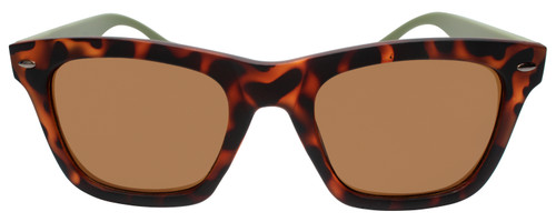 Front View of Converse H071 Unisex Square Full Rim Sunglasses Tortoise Olive Green/Brown 55mm