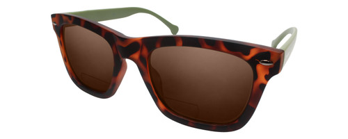 Profile View of Converse H071 Designer Polarized Reading Sunglasses with Custom Cut Powered Amber Brown Lenses in Tortoise Olive Green Unisex Square Full Rim Acetate 55 mm